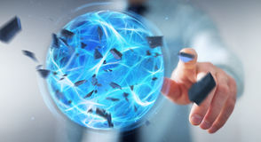 Businessman creating a power ball with his hand 3D rendering. Businessman creating an exploding blue power ball with his hand 3D rendering Stock Photography