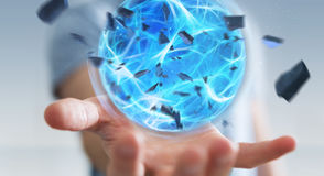 Businessman creating a power ball with his hand 3D rendering. Businessman creating an exploding blue power ball with his hand 3D rendering Stock Photos