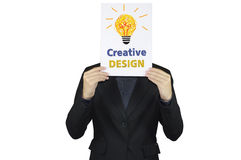 Businessman and creative design concept. Businessman and creative design concept on head Stock Images