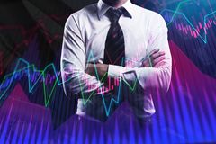 Businessman with creative forex chart. Finance and fund management concept. Double exposure Stock Photo