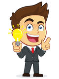 Businessman Creative Idea. Clipart Picture of a Male Businessman Cartoon Character Creative Idea Stock Photography