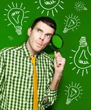 Businessman With Creative Idea On Green Background Royalty Free Stock Photo