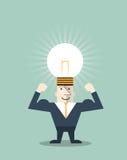 Businessman creative light bulb with human head symbol Stock Photo