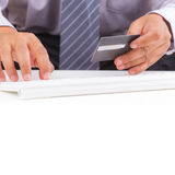 Businessman with credit card Royalty Free Stock Photos