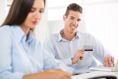 Businessman With Credit Card Stock Images