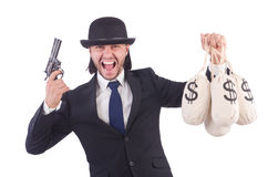 Businessman criminal. With sacks of money Royalty Free Stock Photo