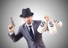 Businessman criminal with the sacks of money Royalty Free Stock Images