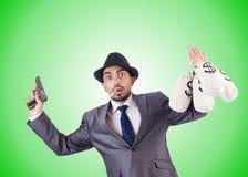 Businessman criminal with sacks of money Stock Photos