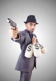 Businessman criminal with sacks of money Royalty Free Stock Photography