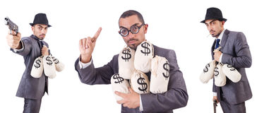 The businessman criminal with sacks of money. Businessman criminal with sacks of money Stock Photo