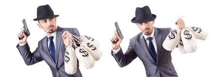 The businessman criminal with sacks of money. Businessman criminal with sacks of money Stock Photos