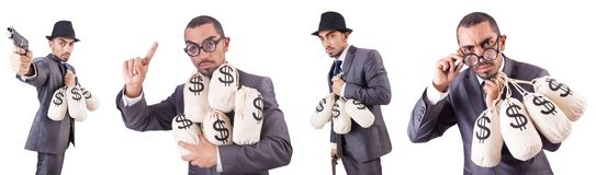 The businessman criminal with sacks of money. Businessman criminal with sacks of money Stock Photography