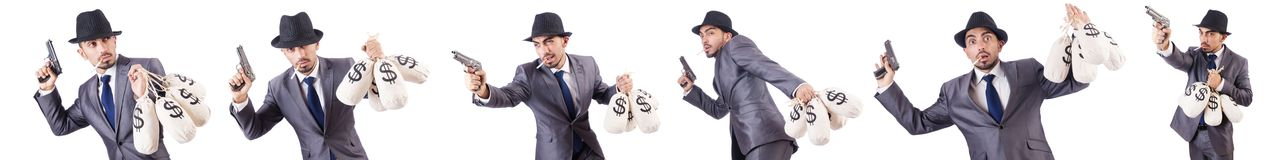 The businessman criminal with sacks of money. Businessman criminal with sacks of money Royalty Free Stock Image