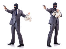 The businessman criminal with sacks of money. Businessman criminal with sacks of money Royalty Free Stock Photography