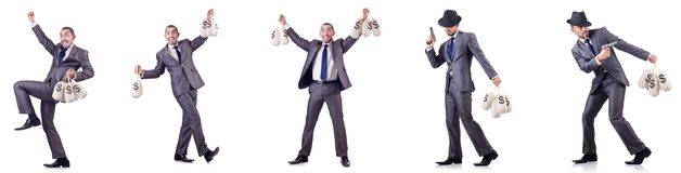 The businessman criminal with sacks of money. Businessman criminal with sacks of money Royalty Free Stock Images