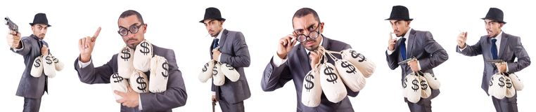 The businessman criminal with sacks of money. Businessman criminal with sacks of money Stock Image