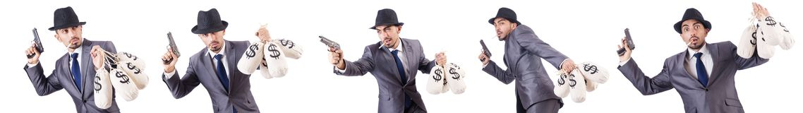 The businessman criminal with sacks of money. Businessman criminal with sacks of money Stock Images