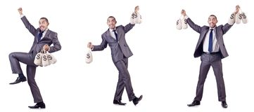 The businessman criminal with sacks of money Stock Photography