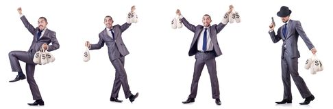 The businessman criminal with sacks of money. Businessman criminal with sacks of money Royalty Free Stock Photo