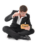 Businessman crisis. Businessman going mad by the financial crisis Stock Photography