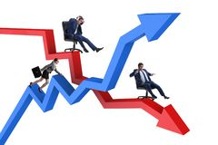 The businessman in crisis and recovery concept. Businessman in crisis and recovery concept Stock Photos