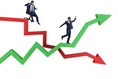 The businessman in crisis and recovery concept. Businessman in crisis and recovery concept Stock Images