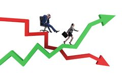 The businessman in crisis and recovery concept. Businessman in crisis and recovery concept Stock Photography