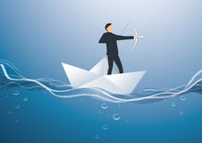 Businessman with a crossbow on paper boat vector background. Illustration Royalty Free Stock Images