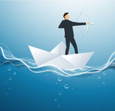 Businessman with a crossbow on paper boat vector background. Illustration Stock Photos
