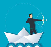 Businessman with a crossbow on paper boat vector background. Illustration Stock Image