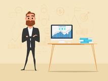 Businessman crossed his arms with business summary charts graph. On computer screen and icons on wall. Business finance and success concept. Cartoon Vector Royalty Free Stock Image