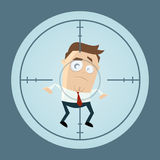 Businessman in crosshairs cartoon clipart Stock Images