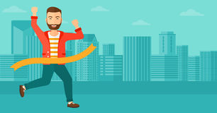 Businessman crossing finish line. A hipster man with the beard running through finishing line on the background of modern city vector flat design illustration Royalty Free Stock Image