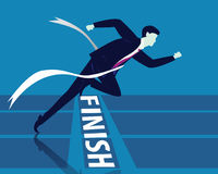 Businessman Crossing Finish Line. Vector illustration. Business success concept. Businessman sprinting on running track and crossing finish line Stock Images