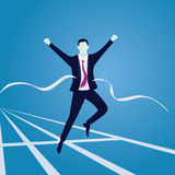 Businessman Crossing Finish Line. Vector illustration. Business success concept. Businessman sprinting on running track and crossing finish line Stock Photography