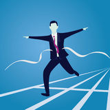 Businessman Crossing Finish Line. Vector illustration. Business success concept. Businessman sprinting on running track and crossing finish line Royalty Free Stock Photography