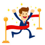 Businessman Crossing The Finish Line. Vector stock of a businessman crossing finish line with through a red ribbon, successful business concept Royalty Free Stock Image
