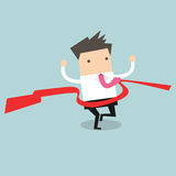 Businessman crossing finish line, he is won a competition. Vector illustration Stock Photos