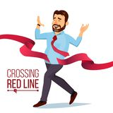 Businessman Crossing Red Ribbon Line Vector. Business Achievement. Successful Manager. First. Isolated Flat Cartoon. Businessman Crossing Red Line Vector. Office Royalty Free Stock Photos