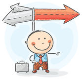 Businessman at the crossroad. Cartoon businessman at the crossroad Royalty Free Stock Photography