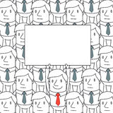 Businessman in crowd holding up sign. Vector illustration of a monochrome cartoon character: Smiling businessman holding up blank sign standing in a homogeneous Royalty Free Stock Image