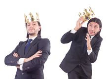 The businessman with crown isolated on white Royalty Free Stock Image
