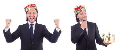 The businessman with crown isolated on white Stock Images