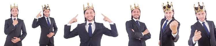 The businessman with crown isolated on white Stock Photography