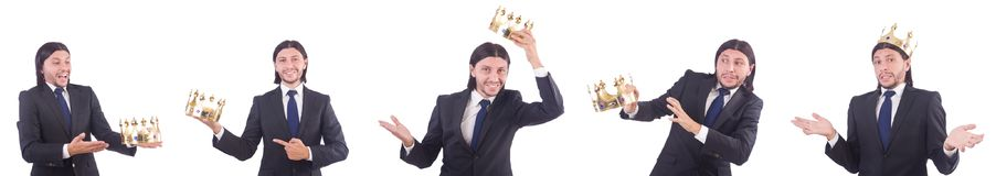 The businessman with crown isolated on white Royalty Free Stock Images