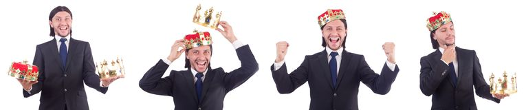The businessman with crown isolated on white Stock Photos