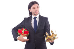 Businessman with crown Royalty Free Stock Photography