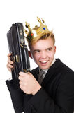 Businessman with crown Stock Images