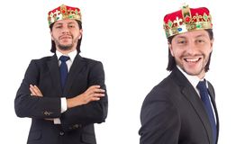 The businessman with crown isolated on white Stock Image