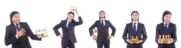 The businessman with crown isolated on white. Businessman with crown isolated on white Royalty Free Stock Images